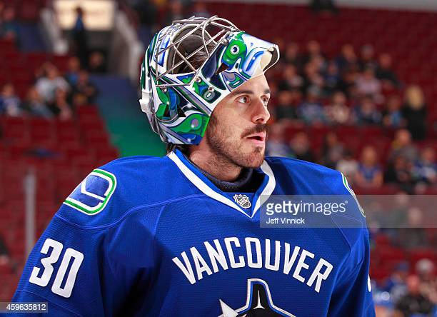 Ryan Miller of the Vancouver Canucks looks on from his crease during their NHL game against the Anaheim Ducks at Rogers Arena November 20 2014 in...