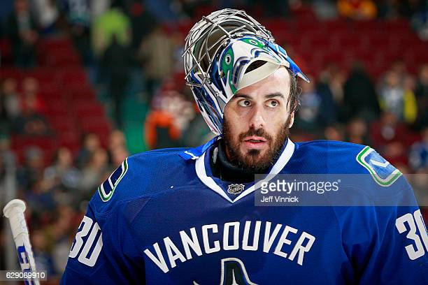 Ryan Miller of the Vancouver Canucks looks on from his crease during their NHL game against the Anaheim Ducks at Rogers Arena December 1 2016 in...