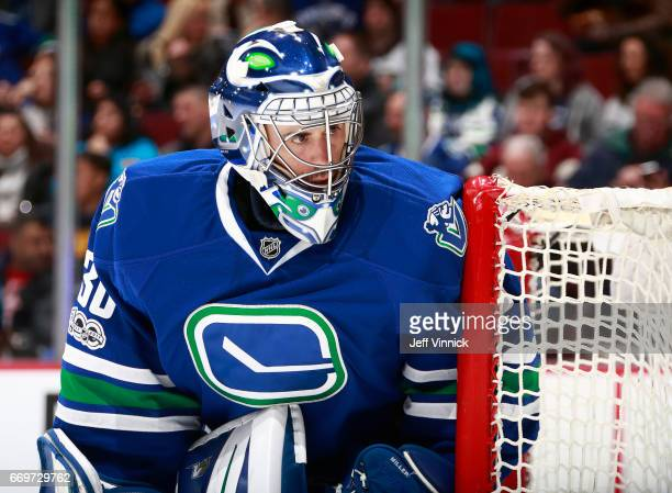 Ryan Miller of the Vancouver Canucks looks on from his crease during their NHL game against the Anaheim Ducks at Rogers Arena March 28 2017 in...