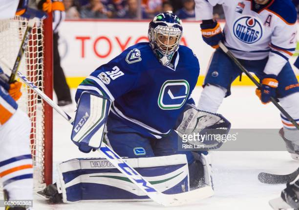 Ryan Miller of the Vancouver Canucks readies to make a save in NHL action against the Edmonton Oilers on April 8 2017 at Rogers Arena in Vancouver...