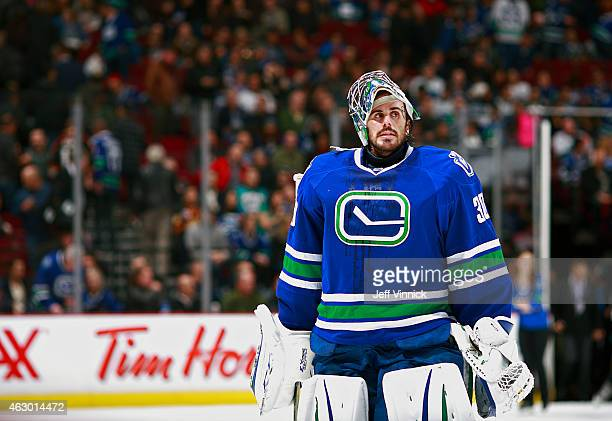 Ryan Miller of the Vancouver Canucks skates off the ice during their NHL game against the Anaheim Ducks at Rogers Arena January 27 2015 in Vancouver...