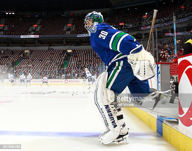 Ryan Miller of the Vancouver Canucks steps onto the ice during their NHL game against theTampa Bay Lightning at Rogers Arena October 18, 2014 in...