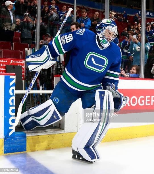 Ryan Miller of the Vancouver Canucks steps onto the ice during their NHL game against the Anaheim Ducks at Rogers Arena March 28 2017 in Vancouver...