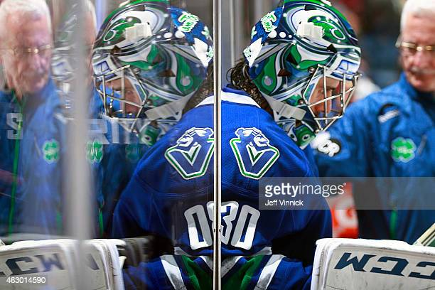 Ryan Miller of the Vancouver Canucks walks out to the ice during their NHL game against the Anaheim Ducks at Rogers Arena January 27 2015 in...