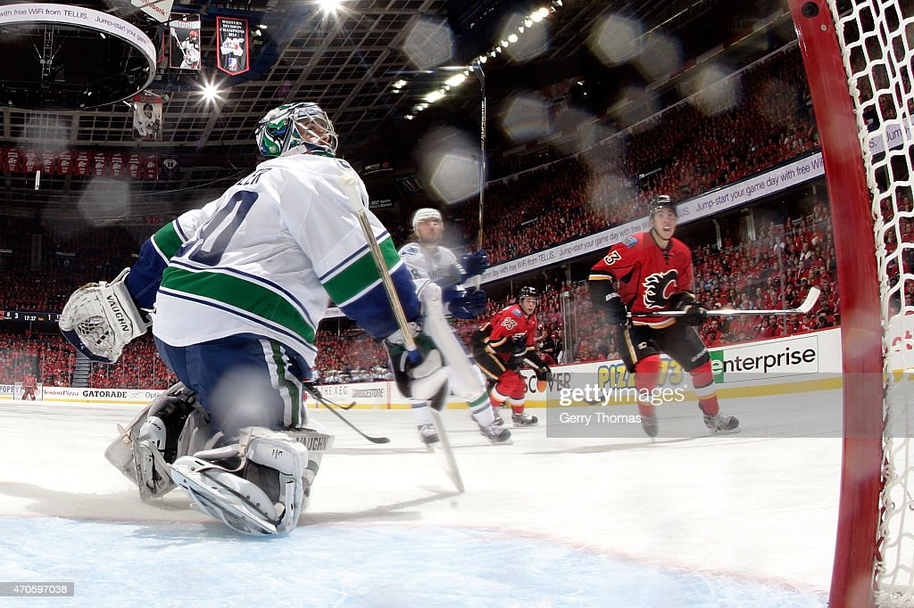 Ryan Miller #30 the Vancouver Canucks skates in net against the Calgary Flames at Scotiabank Saddledome for Game Four of the Western Quarterfinals during the 2015 NHL Stanley Cup Playoffs on April 21, 2015 in Calgary, Alberta, Canada.