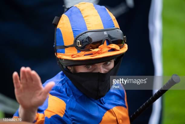 Ryan Moore after the Investec Oaks at Epsom Racecourse on July 04 2020 in Epsom England The famous race meeting will be held behind closed doors for...