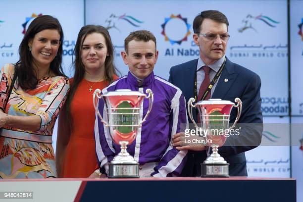 Ryan Moore Aidan O'Brien at the trophy presentation ceremony after Mendelssohn winning the UAE Derby during the Dubai World Cup Day at Meydan...