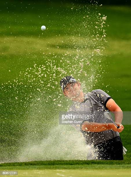 Ryan Moore hits from a bunker on the fourth hole during the third round of the EDS Byron Nelson Championship at TPC Four Seasons Resort Las Colinas...