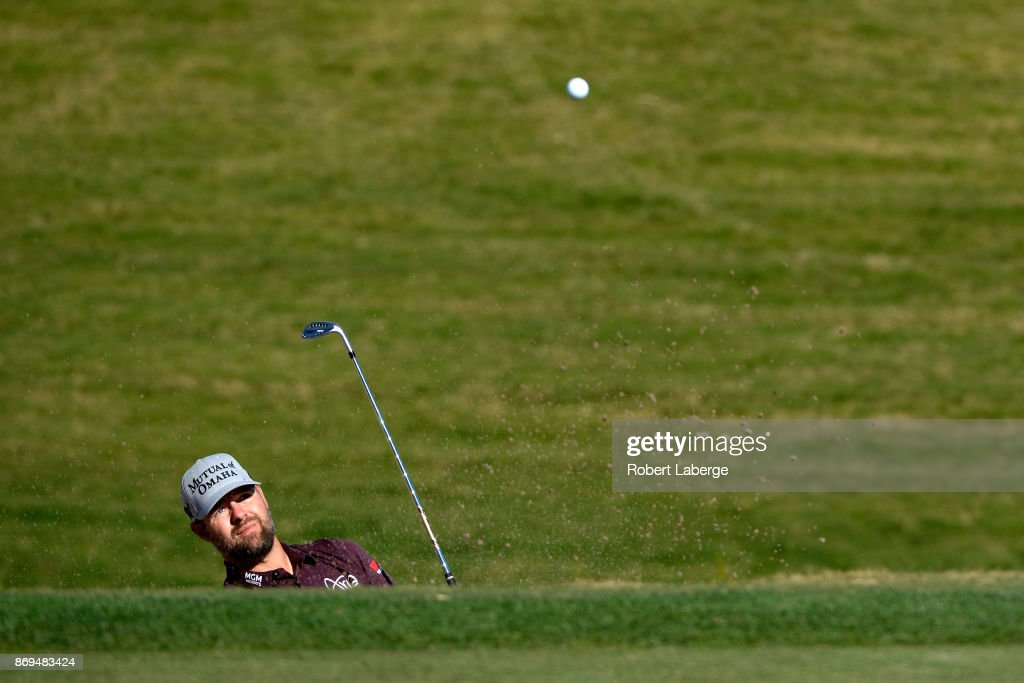Ryan Moore hits from a green side bunker on the third hole during the first round of the Shriners Hospitals For Children Open at TPC Summerlin on November 2, 2017 in Las Vegas, Nevada.