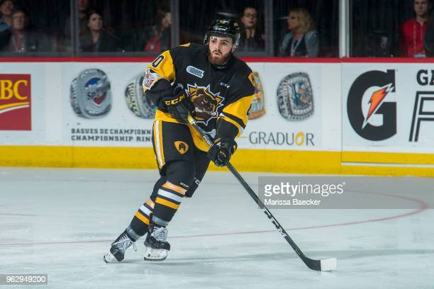 Ryan Moore of Hamilton Bulldogs skates against the AcadieBathurst Titan at Brandt Centre Evraz Place on May 22 2018 in Regina Canada