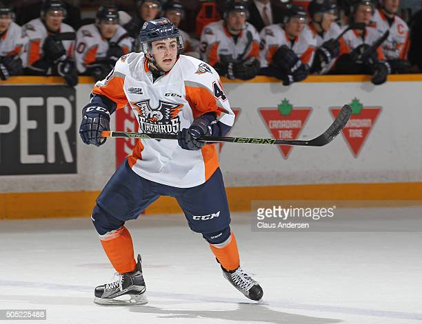 Ryan Moore of the Flint Firebirds skates against the Peterborough Petes during an OHL game at the Peterborough Memorial Centre on January 14 2016 in...