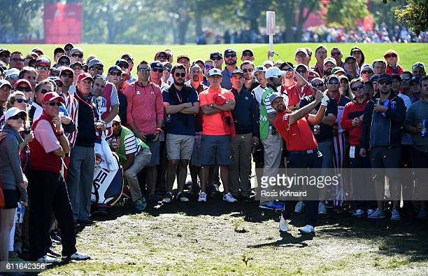 Ryan Moore of the United States plays a shot on the second hole during afternoon fourball matches of the 2016 Ryder Cup at Hazeltine National Golf...