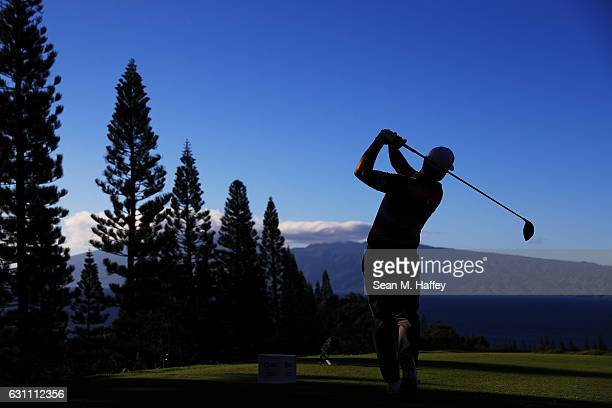 Ryan Moore of the United States plays his shot from the 18th tee during the second round of the SBS Tournament of Champions at the Plantation Course...