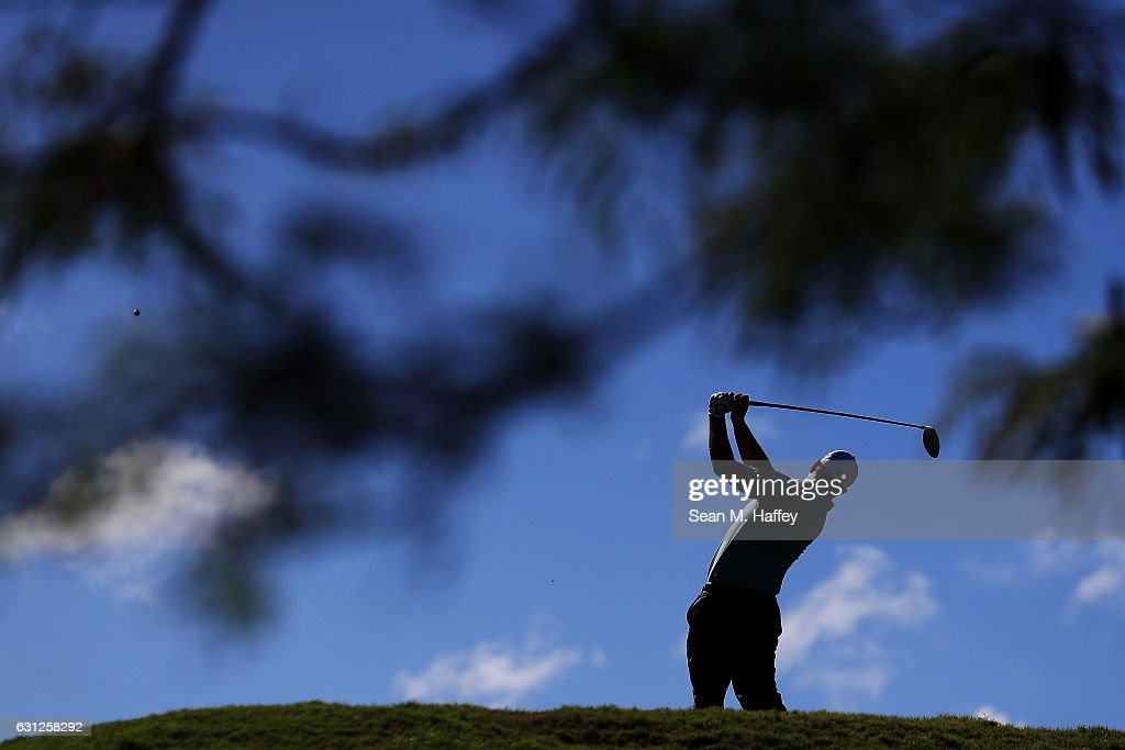 Ryan Moore of the United States plays his shot from the fifth tee during the final round of the SBS Tournament of Champions at the Plantation Course at Kapalua Golf Club on January 8, 2017 in Lahaina, Hawaii.
