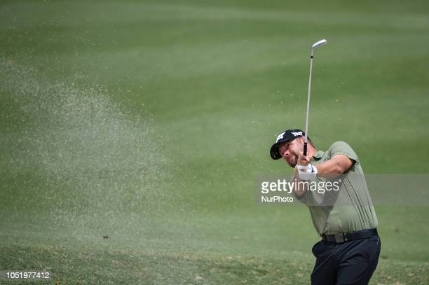 Ryan Moore of the USA hits a shot out of bunker during the second round of 2018 CIMB Classic golf tournament in Kuala Lumpur, Malaysia on October 12,...