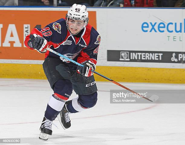 Ryan Moore of the Windsor Spitfires skates against the London Knights in an OHL game at Budweiser Gardens on December 28 2014 in London Ontario...