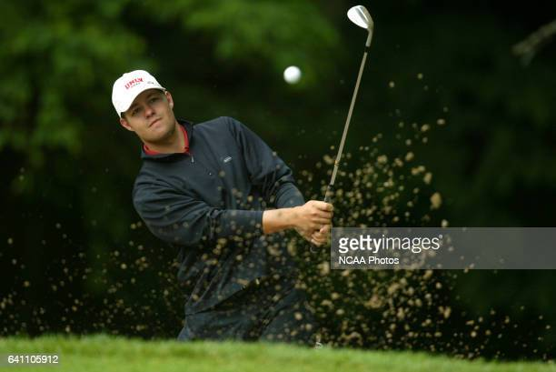 Ryan Moore of UNLV sinks a chip shot from the bunker on hole four during the Men's Division I Golf Championship held at The Cascades at The Homestead...