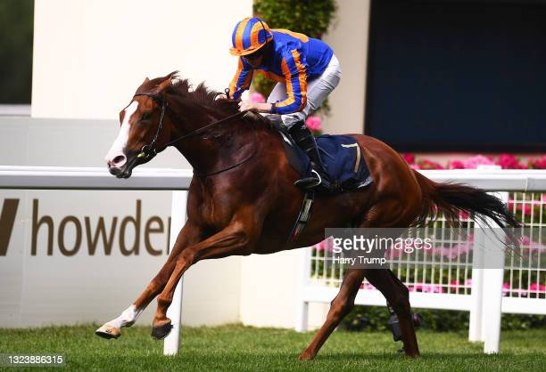 Ryan Moore on board Love on their way to winning the Prince of Wales's Stakes on Day Two of the Royal Ascot Meeting at Ascot Racecourse on June 16,...