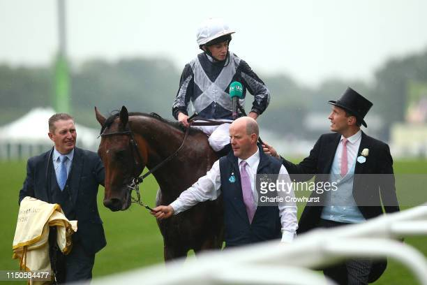 Ryan Moore on Circus Maximus chats to tv after he wins The St James's Palace Stakes during day one of Royal Ascot at Ascot Racecourse on June 18,...