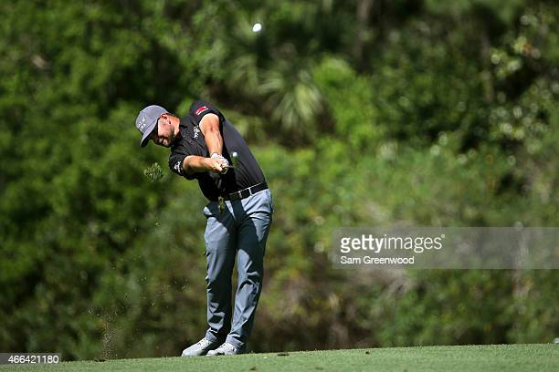 Ryan Moore plays a shot on the seventh hole during the final round of the Valspar Championship at Innisbrook Resort Copperhead Course on March 15...