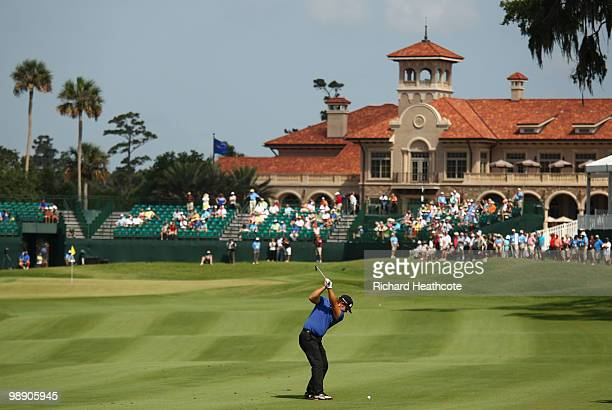 Ryan Moore plays an approach shot on the fairway of the 18th hole during the second round of THE PLAYERS Championship held at THE PLAYERS Stadium...