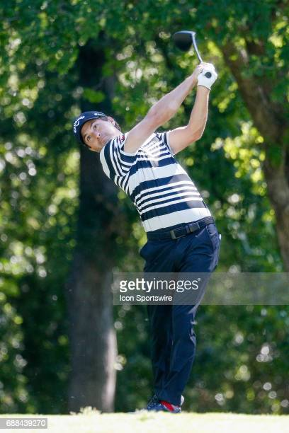 Ryan Moore plays his shot from the 12th tee during the first round of the Dean & Deluca Invitational on May 25, 2017 at Colonial Country Club in Fort...