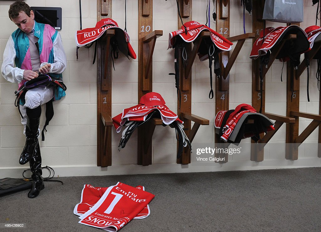 Ryan Moore prepares for race 7, the Emirates Melbourne Cup on Melbourne Cup Day at Flemington Racecourse on November 3, 2015 in Melbourne, Australia.