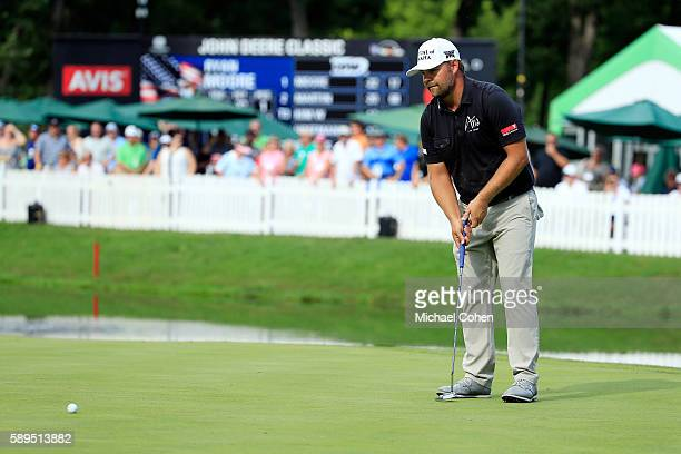 Ryan Moore putts on the 18th green during the final round of the John Deere Classic at TPC Deere Run on August 14 2016 in Silvis Illinois
