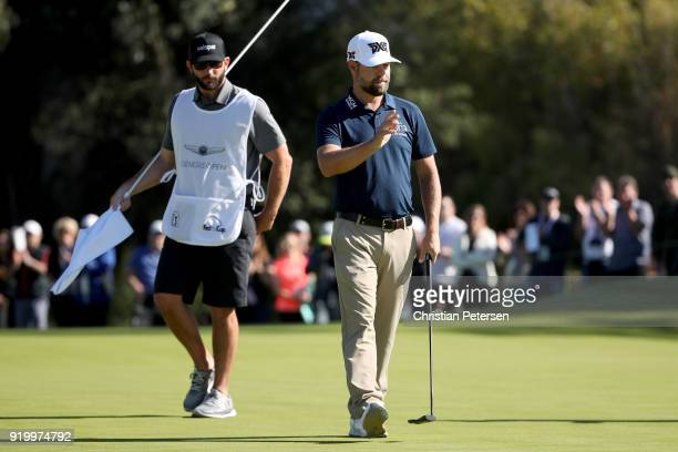 Ryan Moore reacts after making eagle on the first green during the final round of the Genesis Open at Riviera Country Club on February 18 2018 in...