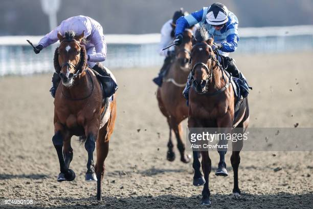 Ryan Moore riding Abe Lincoln win The Betway Handicap Stakes at Lingfield Park racecourse on February 27 2018 in Lingfield England