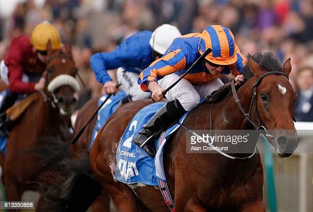 Ryan Moore riding Chruchill win The Dubai Dewhurst at Newmarket Racecourse on October 8 2016 in Newmarket England