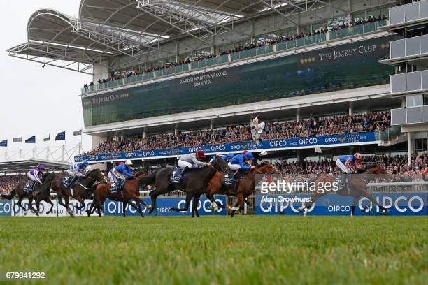 Ryan Moore riding Churchill wins The Qipco 2000 Guineas Stakes at Newmarket Racecourse on May 6, 2017 in Newmarket, England.