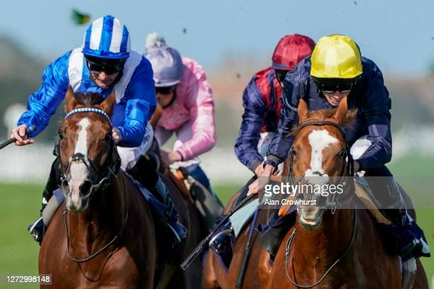 Ryan Moore riding Crystal Pegasus win The Sky Sports Racing HD Virgin 535 Handicap at Yarmouth Racecourse on September 17 2020 in Great Yarmouth...