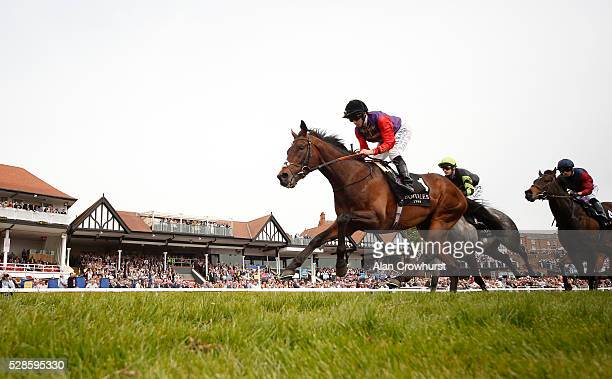 Ryan Moore riding Dartmouth on their way to winning The Boodles Diamond Ormonde Stakes at Chester racecourse on May 6 2016 in Chester England