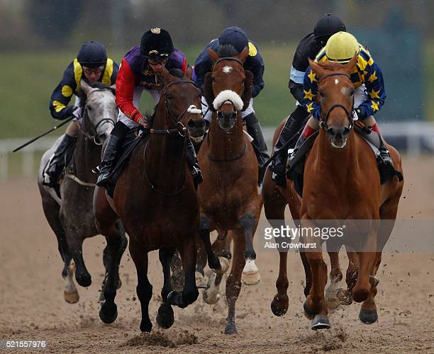 Ryan Moore riding Dartmouth on their way to winning The Follow Betfred On Twitter John Porter Stakes at Chelmsford racecourse on April 16 2016 in...
