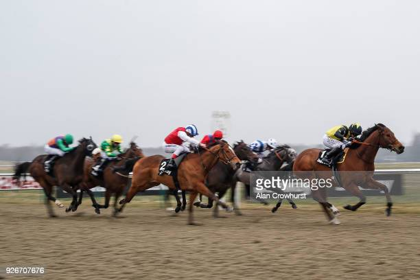Ryan Moore riding Encore DâOr win The Betway Handicap Stakes at Lingfield Park racecourse on March 3 2018 in Lingfield England
