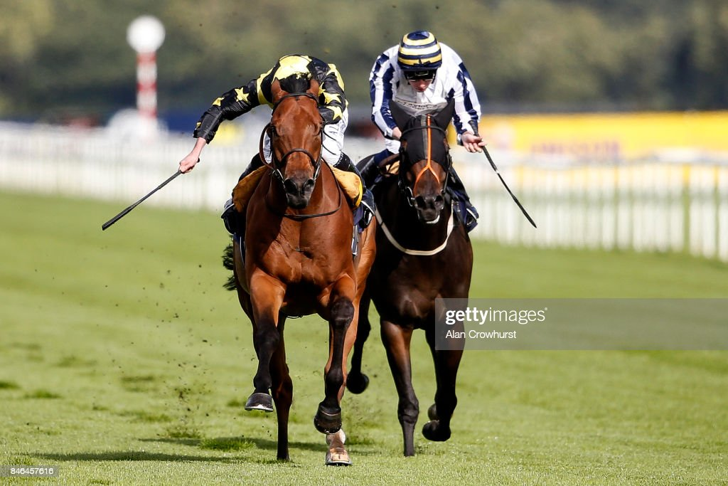 Ryan Moore riding Encore d'Or (L) win The pepsi Max Scarbrough Stakes at Doncaster racecourse on September 13, 2017 in Doncaster, United Kingdom.