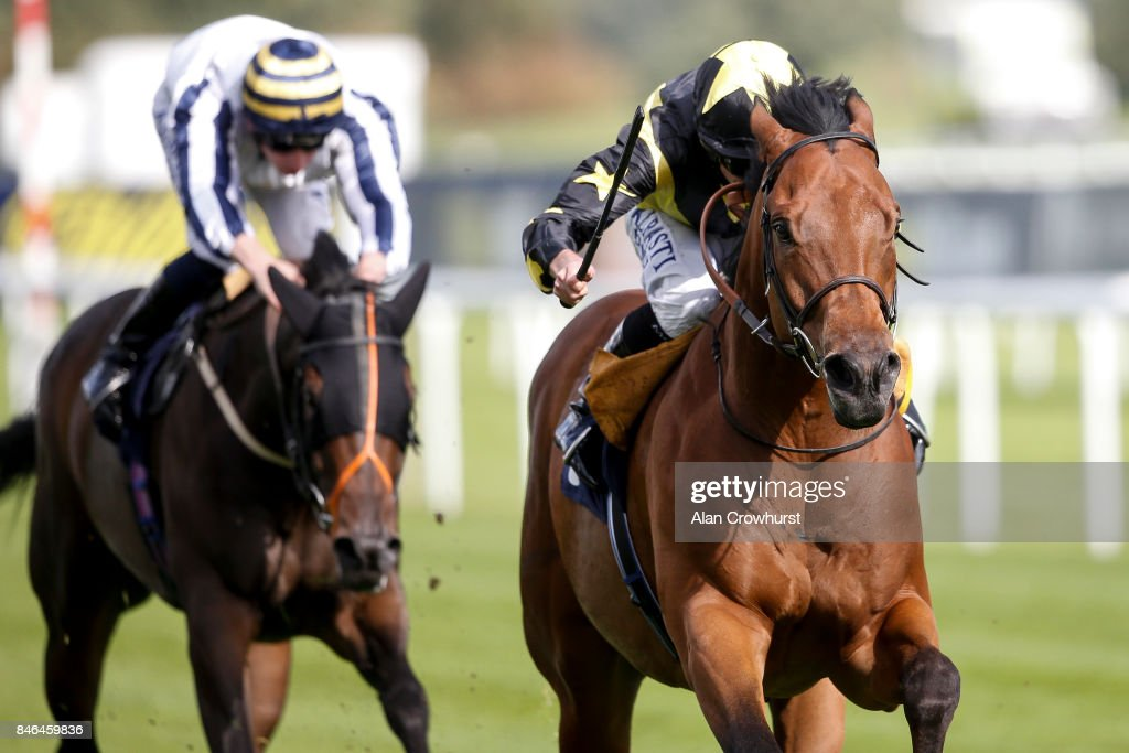 Ryan Moore riding Encore D'Or win The pepsi Max Scarbrough Stakes at Doncaster racecourse on September 13, 2017 in Doncaster, United Kingdom.