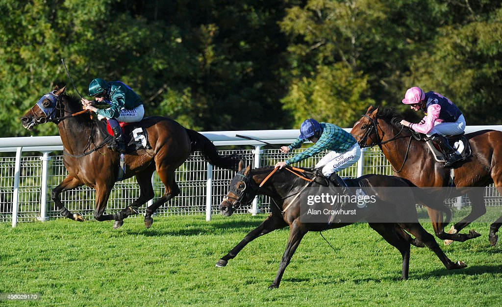 Ryan Moore riding Good Luck Charm (L) win The Bidvest 3663 Stakes at Goodwood racecourse on September 24, 2014 in Chichester, England.