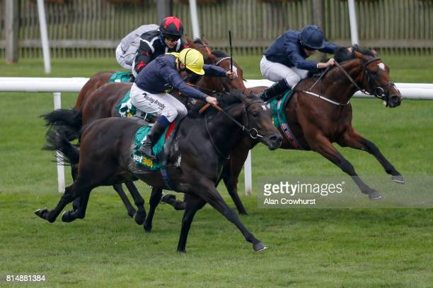 Ryan Moore riding Gustav Klimt win The bet365 Superlative Stakes from Nebo at Newmarket racecourse on July 15 2017 in Newmarket England