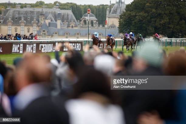 Ryan Moore riding Happily win2 The Qatar Prix JeanLuc Lagardere during Prix de l'Arc de Triomphe meeting at Chantilly Racecourse on October 1 2017 in...