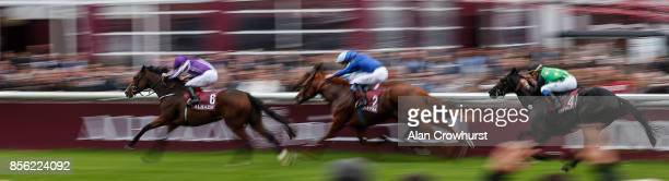 Ryan Moore riding Happily wins The Qatar Prix JeanLuc Lagardere during Prix de l'Arc de Triomphe meeting at Chantilly Racecourse on October 1 2017 in...