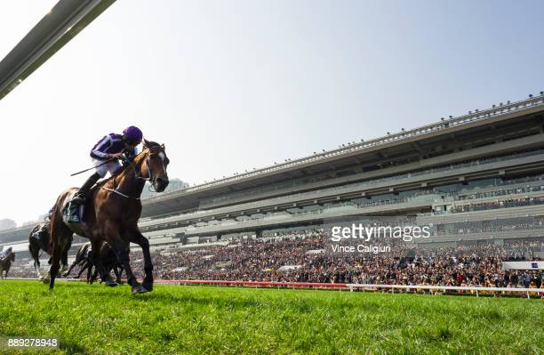 Ryan Moore riding Highland Reel wins Race 4 The Longines Hong Kong Vase during Longines Hong Kong International Race Day at Sha Tin Racecourse on...