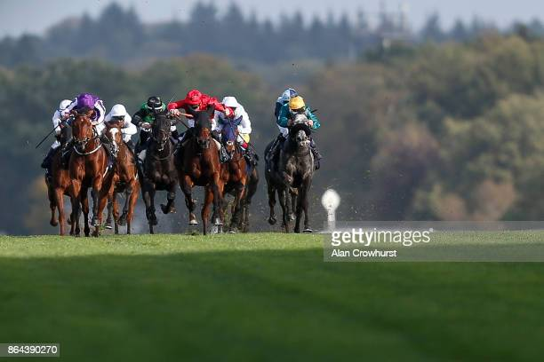 Ryan Moore riding Hydrangea win The Qipco British Champions Fillie Mares Stakes at Ascot racecourse on QIPCO British Champions Day on October 21 2017...