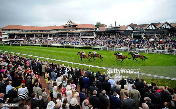 Ryan Moore riding Legend Rising win The Boodles Diamond handicap Stakes at Chester racecourse on May 08 2014 in Chester England