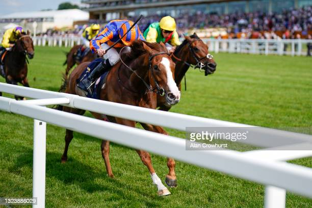Ryan Moore riding Love win The Prince Of Wales's Stakes on Day Two of the Royal Ascot Meeting at Ascot Racecourse on June 16, 2021 in Ascot, England....