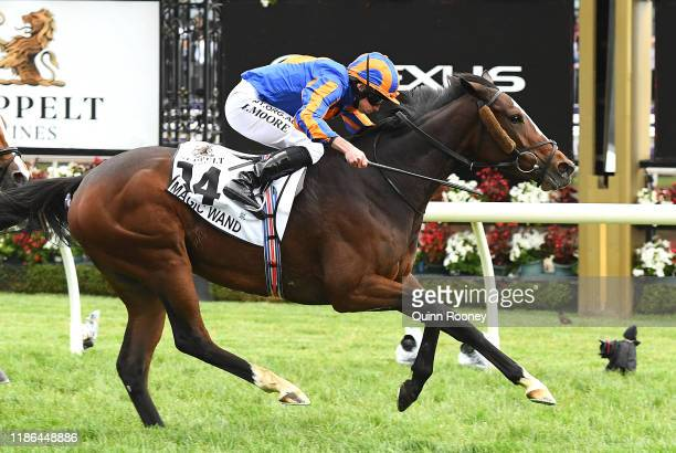 Ryan Moore riding Magic Wand wins the Seppelt Mackinnon Stakes during 2019 Stakes Day at Flemington Racecourse on November 09, 2019 in Melbourne,...