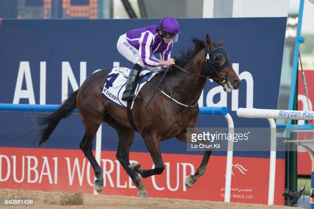 Ryan Moore riding Mendelssohn wins the UAE Derby during the Dubai World Cup Day at Meydan Racecourse on March 31 2018 in Dubai United Arab Emirates