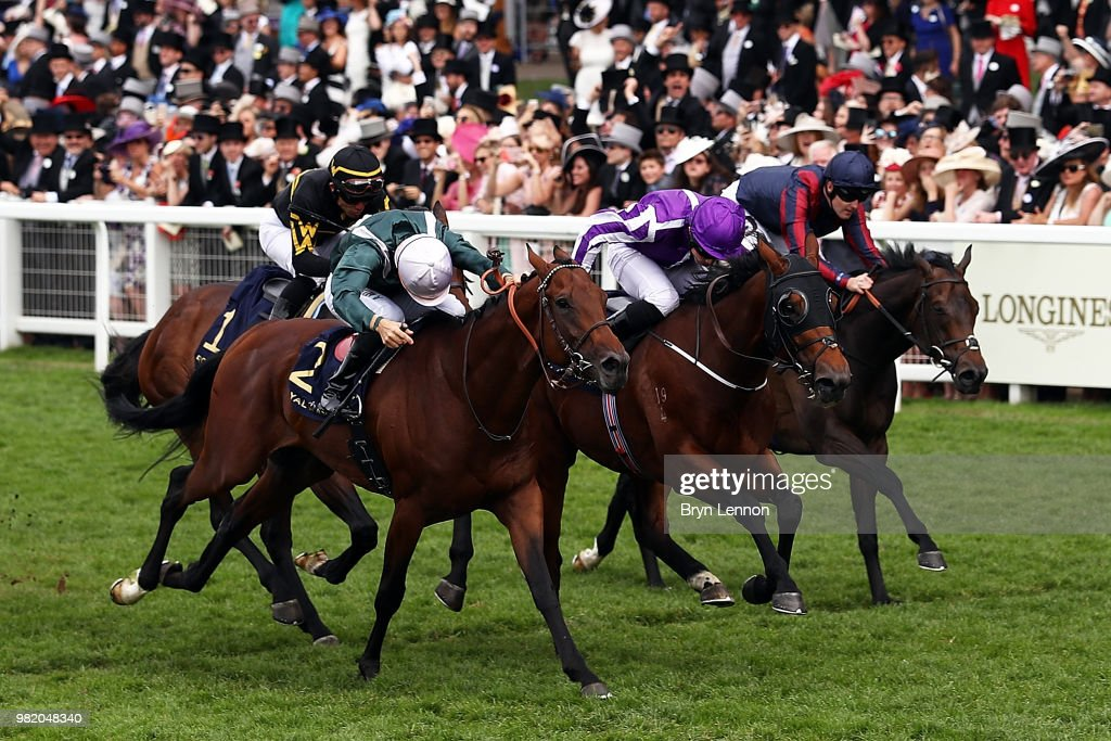 Ryan Moore riding Merchant Navy wins The Diamond Jubilee Stakes on day 5 of Royal Ascot at Ascot Racecourse on June 23, 2018 in Ascot, England.
