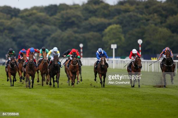 Ryan Moore riding Music Box win The Japan Racing Association Sceptre Stakes at Doncaster racecourse on September 15, 2017 in Doncaster, United...